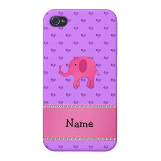 Corazones púrpuras conocidos personalizados del el iPhone 4/4S carcasas