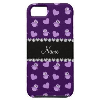 Corazones púrpuras conocidos personalizados del iPhone 5 carcasas