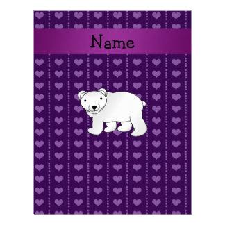 Corazones púrpuras conocidos personalizados del plantillas de membrete