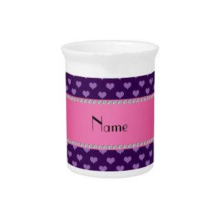 Corazones púrpuras conocidos personalizados jarron