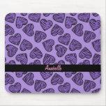 Corazones púrpuras de la impresión del tigre alfombrillas de ratones