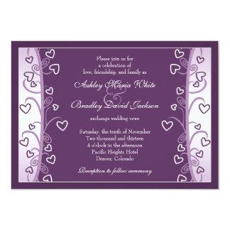 Corazones púrpuras de la lavanda del ciruelo que invitacion personalizada