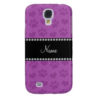 Corazones púrpuras de la lila conocida y prin pers funda samsung s4