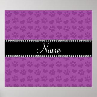 Corazones púrpuras de la lila conocida y prin pers póster