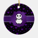 Corazones púrpuras de la panda linda del bebé adorno navideño redondo de cerámica