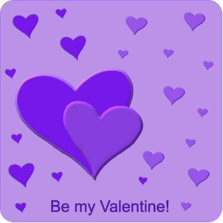 Corazones púrpuras de la tarjeta del día de San Escultura Fotografica