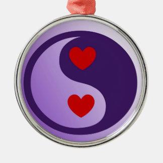 Corazones púrpuras de Yin Yang Adorno Redondo Plateado