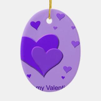 Corazones púrpuras adorno ovalado de cerámica