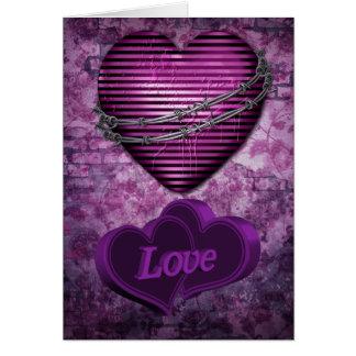 Corazones púrpuras del amor tarjeta de felicitación