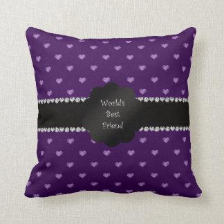 Corazones púrpuras del mejor amigo del mundo cojines