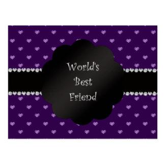 Corazones púrpuras del mejor amigo del mundo postales