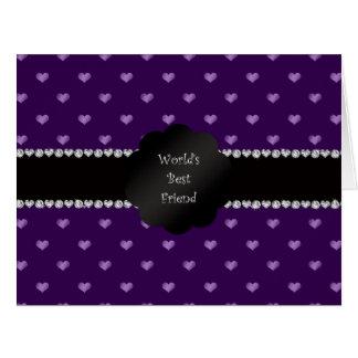 Corazones púrpuras del mejor amigo del mundo tarjeta de felicitación grande
