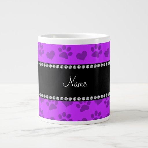 Corazones púrpuras e impresión de neón conocidos p taza grande