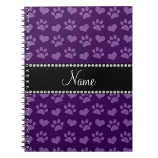 Corazones púrpuras e impresiones conocidos persona libro de apuntes con espiral