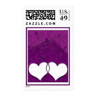 Corazones púrpuras entrelazados sello
