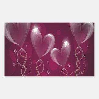 Corazones púrpuras formato, cumpleaños de los pegatina rectangular
