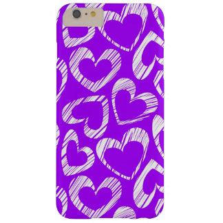 Corazones púrpuras funda de iPhone 6 plus barely there