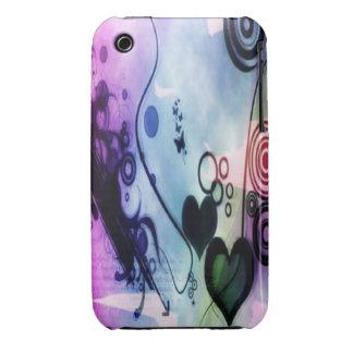 Corazones púrpuras funda para iPhone 3 de Case-Mate