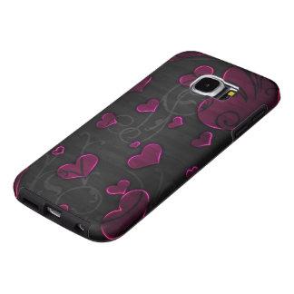 corazones púrpuras hermosos con arte del remolino fundas samsung galaxy s6