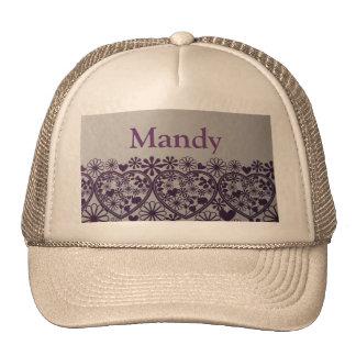 corazones púrpuras lindos y pocos gorras de Mandy
