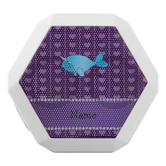 corazones púrpuras narwhal azules conocidos altavoces bluetooth blancos boombot REX