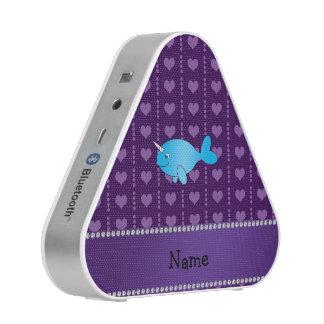 Corazones púrpuras narwhal azules conocidos altavoz bluetooth