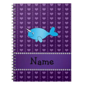 Corazones púrpuras narwhal azules conocidos person cuaderno