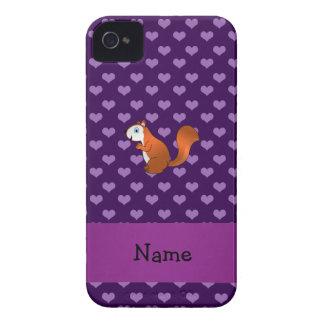 Corazones púrpuras personalizados de la ardilla co iPhone 4 cobertura
