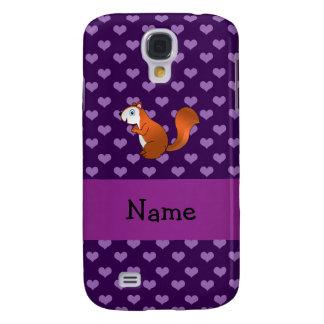 Corazones púrpuras personalizados de la ardilla co