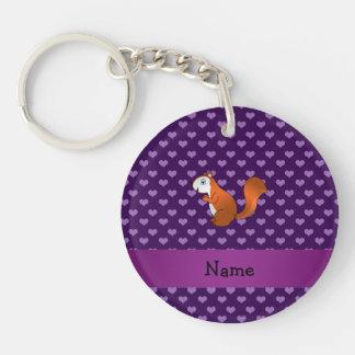 Corazones púrpuras personalizados de la ardilla co llavero