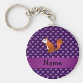 Corazones púrpuras personalizados de la ardilla co llaveros
