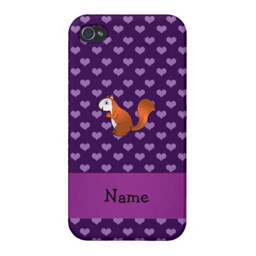 Corazones púrpuras personalizados de la ardilla iPhone 4 fundas