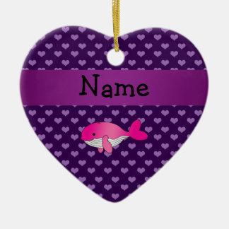 Corazones púrpuras personalizados de la ballena adorno de cerámica en forma de corazón