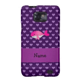 Corazones púrpuras personalizados de la ballena samsung galaxy s2 fundas