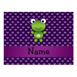 Corazones púrpuras personalizados de la rana conoc postal