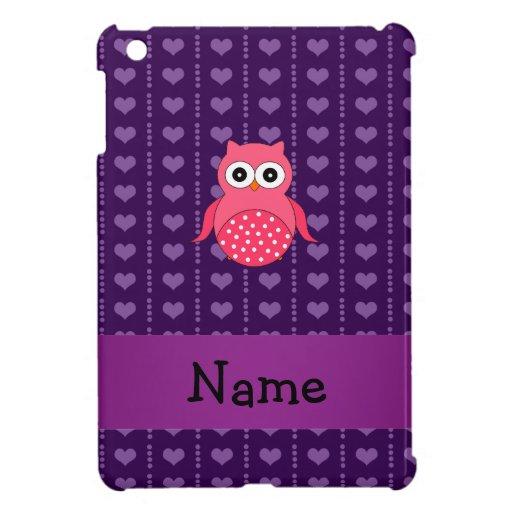 Corazones púrpuras personalizados del búho rosado