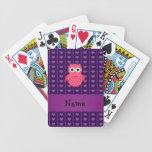 Corazones púrpuras personalizados del búho rosado  barajas