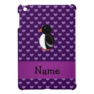 Corazones púrpuras personalizados del pingüino con