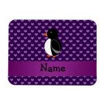 Corazones púrpuras personalizados del pingüino con imanes flexibles