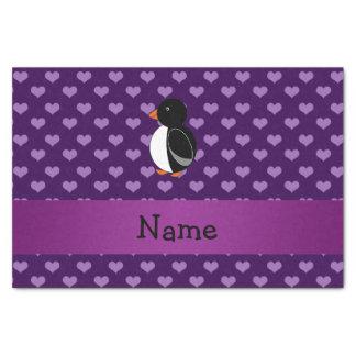 Corazones púrpuras personalizados del pingüino papel de seda pequeño