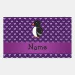 Corazones púrpuras personalizados del pingüino rectangular altavoz