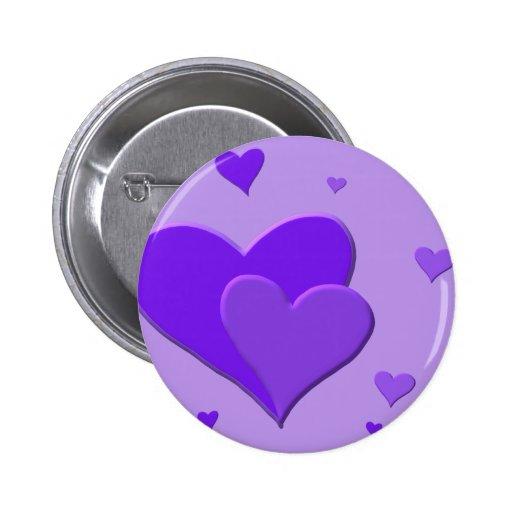 Corazones púrpuras pin redondo 5 cm