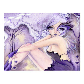 Corazones púrpuras - postal