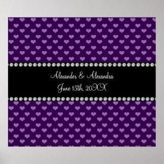 Corazones púrpuras que casan favores póster