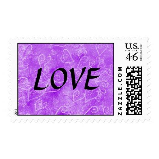 Corazones púrpuras románticos - amor sello