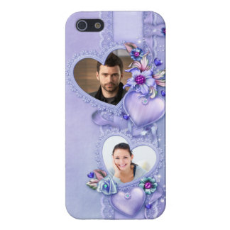 Corazones púrpuras románticos de la foto - persona iPhone 5 carcasa