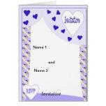 Corazones púrpuras tarjeta de felicitación