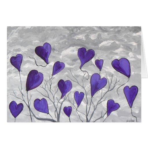 Corazones púrpuras tarjeta pequeña