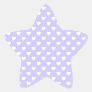 Corazones púrpuras y blancos del lunar pegatina en forma de estrella