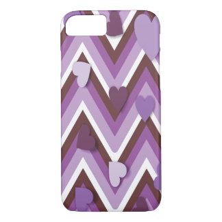 Corazones púrpuras y Cheverons Funda iPhone 7